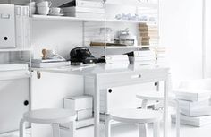 string® system - floor panels, wall panels, shelves, magazine shelves, cabinets, display cabinets and folding table in white