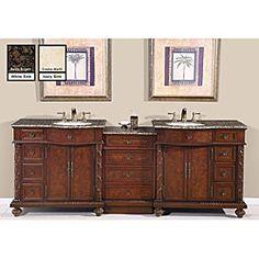 Silkroad Exclusive English Chestnut 90-inch Stone Top Double Sink Bathroom Vanity | Overstock.com Shopping - Great Deals on Silkroad Exclusive Bath Vanities