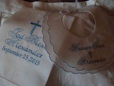 Christening Towel and Bib For Baby Girl or Boy by Zadabug on Etsy