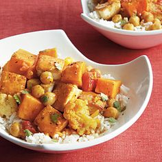 Tofu and Chickpea Curry ~ Slow Cooker ~ Experiment with a variety of fresh vegetables in this vegetarian Madras curry. You can stir in spinach or Swiss chard during the last 30 minutes of cooking, if you like.