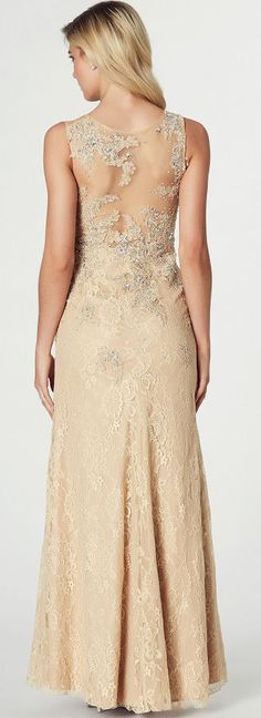 $157.89-Eelgant Beaded Sleeveless Lace Champagne Long Prom Dress with Illusion Back. http://www.ucenterdress.com/beaded-sleeveless-scoop-neck-lace-prom-dress-pMK_301690.html.  Free Shipping & Free Custom Made! Buy cheap prom dresses, party dresses, night dresses, maxi dresses, little black dresses, junior prom dresses, girls prom dresses, designer prom dresses for sale. We have great 2016 prom dresses on sale at #UcenterDress.com today!
