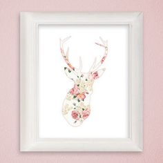 Deer Art Print, Deer Silhouette Art, Deer Wall Art, Shabby Chic Print, Flower Art Print, Floral Art Print, Nursery Art, Antlers, Stag