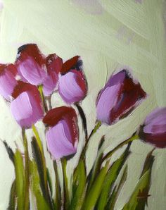 purple tulips original oil painting by moulton on by prattcreekart, $50.00