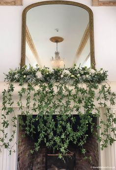 A classic Wilde Bunch 'trailing' mantlepiece design. This would also look great at a wide variety of venues where we regularly work Fireplace Garland, Fireplace Mantle, Flower Installation, Baby Shower Flowers, Wedding Inspiration, Wedding Ideas, Mantles, Floral Designs, Wedding Designs