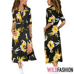 Renunță la ținutele office sobre și adoptă un look feminin, înflorat:😍🌼❤️ Dresses With Sleeves, Spandex, Long Sleeve, Floral, Casual, Fashion, Moda, Gowns With Sleeves, Fashion Styles
