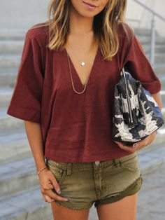 Shop Red V Neck Loose Crop Blouse online. SheIn offers Red V Neck Loose Crop Blouse & more to fit your fashionable needs.