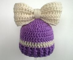 Baby Girl Crochet Beanie Hat with Bow Crochet Baby by amydeming1, $13.50