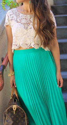 Lace + turquoise maxi this gave me a great idea for something similar I have in my closet! Yessss! Date outfit!!!