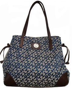 Tommy Hilfiger Signature Small Tote Bag Handbag Navy Blue  Brown -- Click on the image for additional details.Note:It is affiliate link to Amazon.