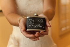 Chalkboard painted flask for Bride and Bridesmaid gifts!