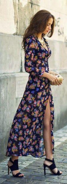 street style black floral print dress