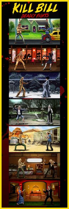 Inspired by Kill Bill 1 2 Mortal Kombat Beat em up games Martial Arts Fine Art Giclee Print Limited Edition of 250 Approximately 12 x 36 Movie Poster Art, Film Posters, Pulp Fiction, Quentin Tarantino Films, Death Proof, Beat Em Up, Horror Movies, Comedy Movies, Movie Film