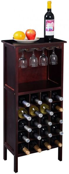 New Wood Wine Cabinet Bottle Holder Storage Kitchen Home Bar w/ Glass Rack #WoodWineCabinet
