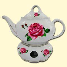 SHOP-PARADISE.COM:  Teekanne mit Stövchen 1,5 L aus Porzellan Spanische Rose 17,85 €