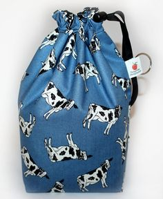 COWS Knitting Project Bag Drawstring Square Bottom by Tangerine8