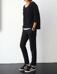 black top, black pants & Adidas sneakers #style #fashion