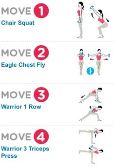 I love combining stationary poses or   squats and lunges with weights. CHECK OUT THESE COMBINATIONS! FEEL THE   BURN!