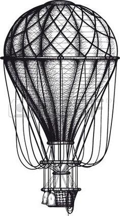 Картинки по запросу воздушный шар рисунок винтаж