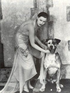 Greta Garbo with her dog ~ So much to love about this! This image has so much going on.