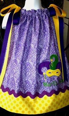 Mardi Gras Dress Applique Mask Purple Green and by ConnieStitches, $30.99