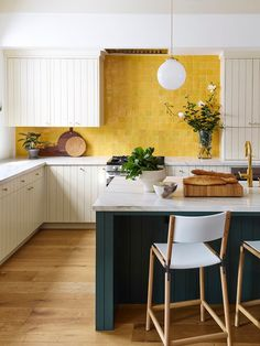 """May 2020 - fun and unique kitchen backsplash featuring our zellige terracotta tiles in """"indian saffron"""" yellow color. if you're looking to brighten your space, opt for this colorway. Home Interior, Kitchen Interior, New Kitchen, Earthy Kitchen, Modern Retro Kitchen, 1970s Kitchen, Yellow Interior, Interior Design, Yellow Home Decor"""