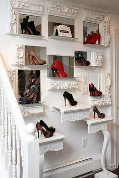 This has to go into my bedroom! Baroque-style white frames and console table cut to surround killer heels against mirrors, stunning look.