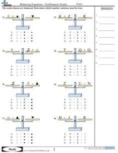 Algebra balance image for balancing equations. Many more types of worksheets. Algebra Activities, Free Math Worksheets, Maths Algebra, Math Resources, Teaching Math, Numeracy, Balancing Equations, Sixth Grade Math, Algebraic Expressions