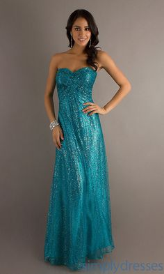 Dress, Long Strapless Sweetheart Sequin Gown - Simply Dresses