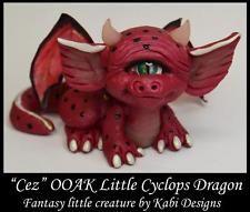 Handmade Fantasy Red Cyclops Dragon Sculpture DollHouse Polymer Clay Art OOAK