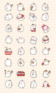 I'm crying rn. Molang is so cute Art Kawaii, Chibi Kawaii, Kawaii Bunny, Kawaii Doodles, Cute Bunny, Anime Chibi, Kawaii Stickers, Cute Stickers, Kawaii Drawings