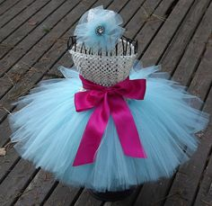 Baby Girl Tutu Ivory and Aqua with flower head band by KarisaDavis