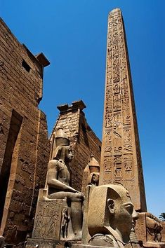 Luxor temple, Luxor Egypt This is the facade of the temple with the Egyptian ob. - Luxor temple, Luxor Egypt This is the facade of the temple with the Egyptian obelisk (Cleopatra' - Ancient Egypt Fashion, Ancient Egypt Art, Ancient Aliens, Ancient History, Old Egypt, Ancient Egypt Architecture, Architecture Antique, Architecture Art, Art History