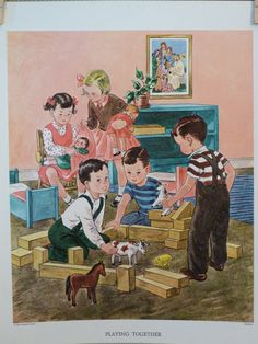 Vintage Sunday School Poster- Playing Together