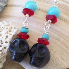 Black Sugar Skull Earrings by VivaGailBeads on Etsy