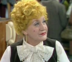 """Slocombe """"Are You Being Served? Mollie Sugden, Are You Being Served, Yellow Hair, Comedy Tv, Nostalgia, My Favorite Things, Celebrities, Image, Movies"""