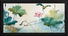 "Add serenity to your space with this large photograph of lotus flowers surround by large green leaves above calm waters. ""Fragrant Lotus"" framed canvas print by Wen Chi, see more sizing and framing options at GreatBIGCanvas.com."