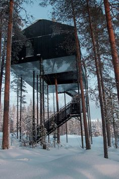 Created by international architects and design company Snøhetta, the treehotel has a new cabin sitting 10 metres above the forest floor. It's called The 7th Room, and provides views out over Swedish Lapland, the Lule River, and the Northern Lights – with huge windows so you can look around without leaving the warmth.  And the inside's pretty cosy.