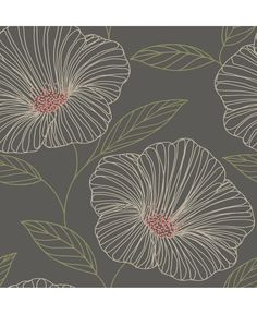 Brewster Home Fashions Mistral Mythic L x W Floral and Botanical Wallpaper Roll Color: Gray Power Wallpaper, Plant Wallpaper, Wallpaper Panels, Wallpaper Roll, Grey Floral Wallpaper, Botanical Wallpaper, Geometric Wallpaper, Floral Pattern Wallpaper, Brewster Wallpaper
