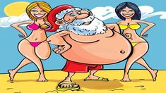 Shop bikini beach santa claus holiday card created by funnychristmas. Personalize it with photos & text or purchase as is! Christmas Cartoon Pictures, Christmas Cartoons, Christmas Humor, Santa Christmas, Xmas, Christmas 2014, Funny Cartoon Photos, Bikini Beach, Bikini Babes