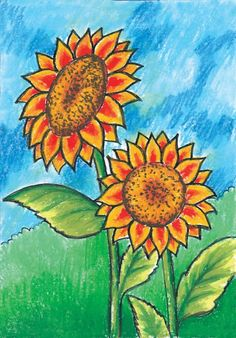 Sunflowers that grow in the wild with their blooms welcome morning Flower Drawing For Kids, Scenery Drawing For Kids, Easy Flower Drawings, Small Drawings, Art Drawings For Kids, Colorful Drawings, Oil Pastel Paintings, Oil Pastel Art, Oil Pastel Drawings