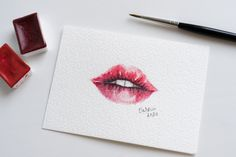 Red lips watercolour painting | unique aquarelle | small wall art | loose painting | fashion illustration | minimalistic artwork Lip Artwork, Zen Art, Fashion Painting, Paper Dimensions, Surface Pattern Design, Watercolour Painting, Red Lips, Designing Women, Art Inspo