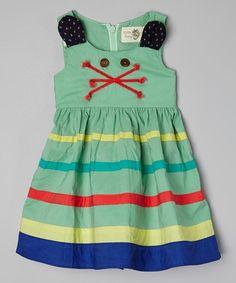 Loving this Green Stripe Crisscross Dress - Toddler & Girls on #zulily! #zulilyfinds