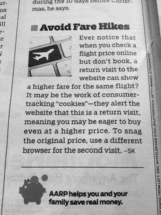 Online browsing Travel tip