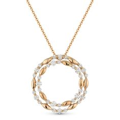 0.73 ct Diamond Cluster Double-Circle Pendant & Chain Necklace in 14k Rose Gold - AM-DN4889 - AlfredAndVincent.com