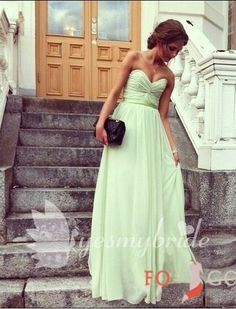 sage chiffon strapless full length bridesmaid dress but in black. Love the rouching around the bodice, and the subtle ribbon belt.