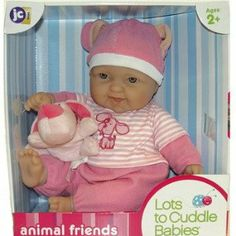 """Lots To Cuddle Soft Doll in Pink with Dog by JC Toys. $39.99. 15 tall soft body doll. Comes with soft animal friend. Ages 2+. The perfect doll for EXTRA hugging and loving! The highly lovable 15"""" Lots to Cuddle Babies are simply irresistible with their adorable expressions and soft body. Each one is dressed in a cute animal themed outfit and includes a stuffed animal as well! You just want to pinch their cheeks! All your child needs is a loving heart and wide-op..."""