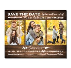 Country Wood 3 Photo Save The Date Magnet by TreasuredMomentsCard