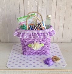 Miniature Lavender Straw Beach Bag  LittleThingsByAnna