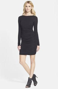 Free shipping and returns on Bailey 44 'Merengue' Long Sleeve Dress at Nordstrom.com. Prominent shirring and an alluring low-back cutout enhance the classic elegance of a long-sleeve dress crafted for a curve-flattering fit.
