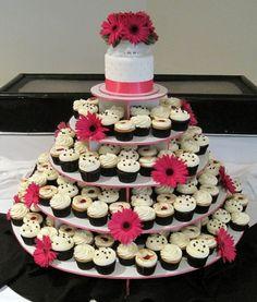 Pink, black, and white cupcake wedding cake.